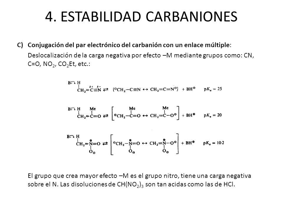 C)Conjugación del par electrónico del carbanión con un enlace múltiple: Deslocalización de la carga negativa por efecto –M mediante grupos como: CN, C