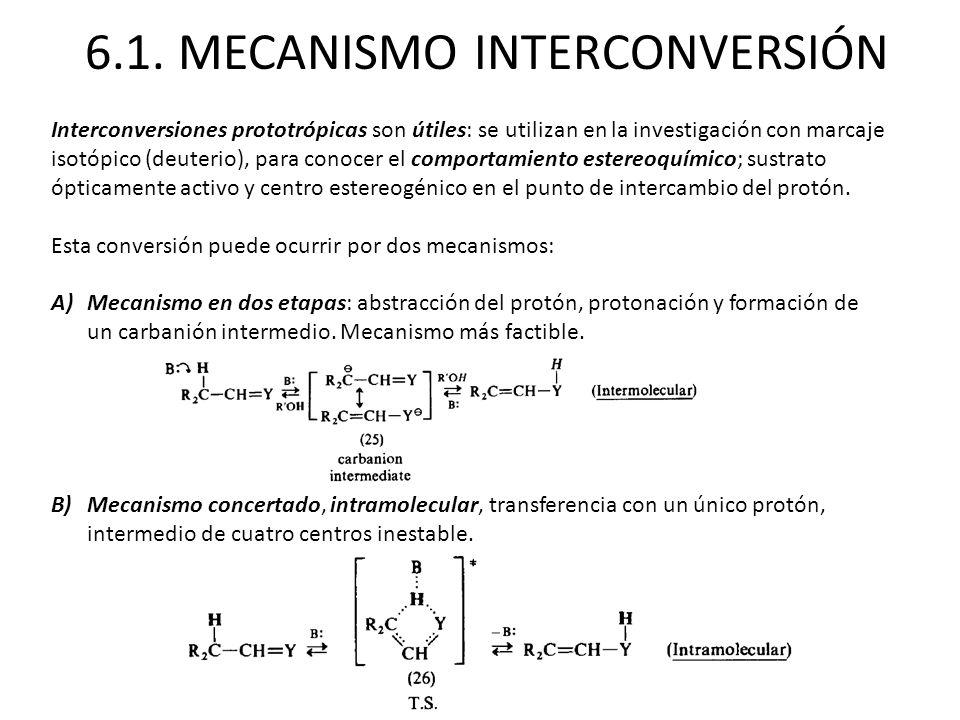 6.1. MECANISMO INTERCONVERSIÓN Interconversiones prototrópicas son útiles: se utilizan en la investigación con marcaje isotópico (deuterio), para cono