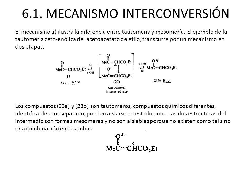 6.1. MECANISMO INTERCONVERSIÓN El mecanismo a) ilustra la diferencia entre tautomería y mesomería. El ejemplo de la tautomería ceto-enólica del acetoa