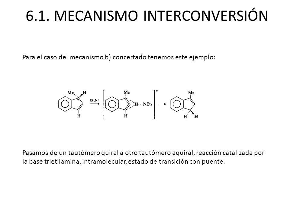 6.1. MECANISMO INTERCONVERSIÓN Para el caso del mecanismo b) concertado tenemos este ejemplo: Pasamos de un tautómero quiral a otro tautómero aquiral,
