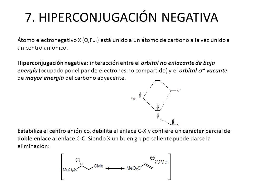 7. HIPERCONJUGACIÓN NEGATIVA Átomo electronegativo X (O,F…) está unido a un átomo de carbono a la vez unido a un centro aniónico. Hiperconjugación neg