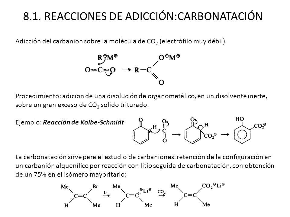 8.1. REACCIONES DE ADICCIÓN:CARBONATACIÓN Adicción del carbanion sobre la molécula de CO 2 (electrófilo muy débil). Procedimiento: adicion de una diso