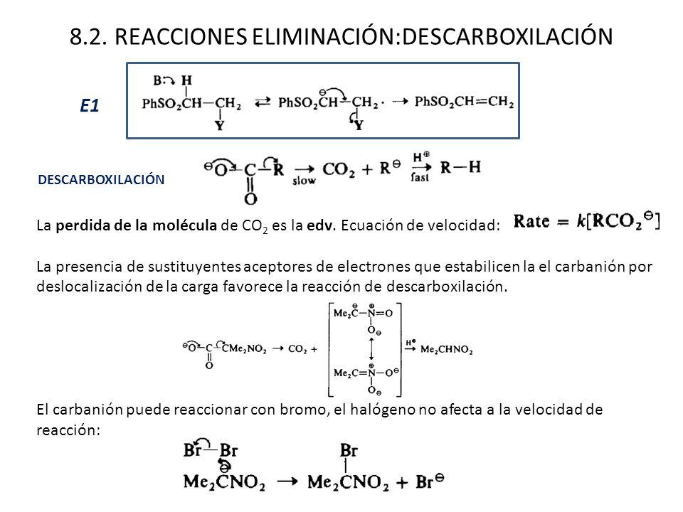 8.2. REACCIONES ELIMINACIÓN:DESCARBOXILACIÓN La perdida de la molécula de CO 2 es la edv. Ecuación de velocidad: La presencia de sustituyentes aceptor