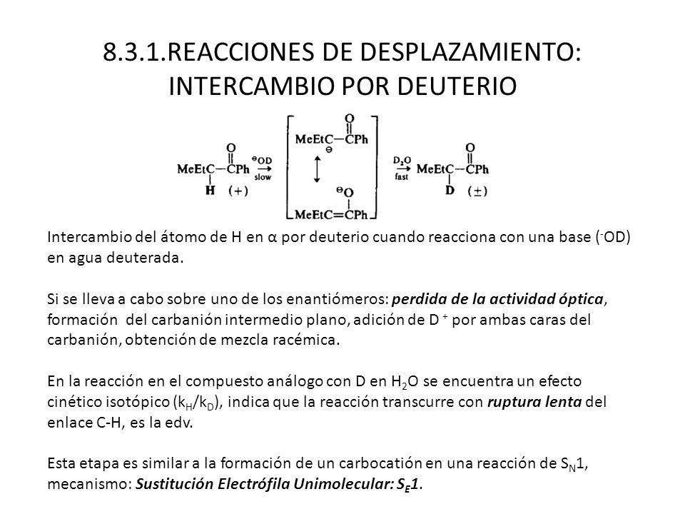 8.3.1.REACCIONES DE DESPLAZAMIENTO: INTERCAMBIO POR DEUTERIO Intercambio del átomo de H en α por deuterio cuando reacciona con una base ( - OD) en agu
