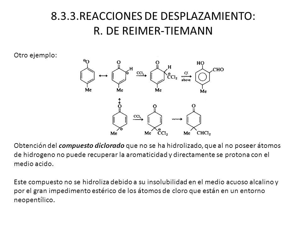 Otro ejemplo: Obtención del compuesto diclorado que no se ha hidrolizado, que al no poseer átomos de hidrogeno no puede recuperar la aromaticidad y di