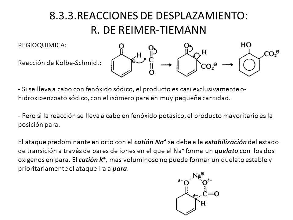 REGIOQUIMICA: Reacción de Kolbe-Schmidt: - Si se lleva a cabo con fenóxido sódico, el producto es casi exclusivamente o- hidroxibenzoato sódico, con e