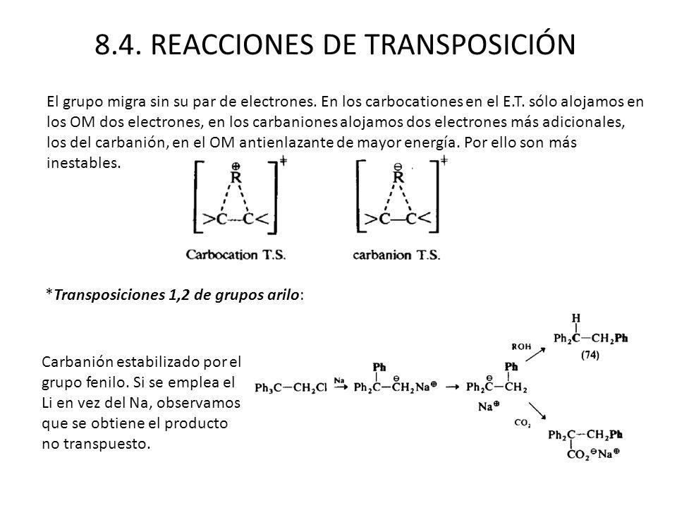 8.4. REACCIONES DE TRANSPOSICIÓN El grupo migra sin su par de electrones. En los carbocationes en el E.T. sólo alojamos en los OM dos electrones, en l
