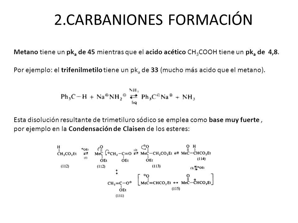 2.CARBANIONES FORMACIÓN Esta disolución resultante de trimetiluro sódico se emplea como base muy fuerte, por ejemplo en la Condensación de Claisen de