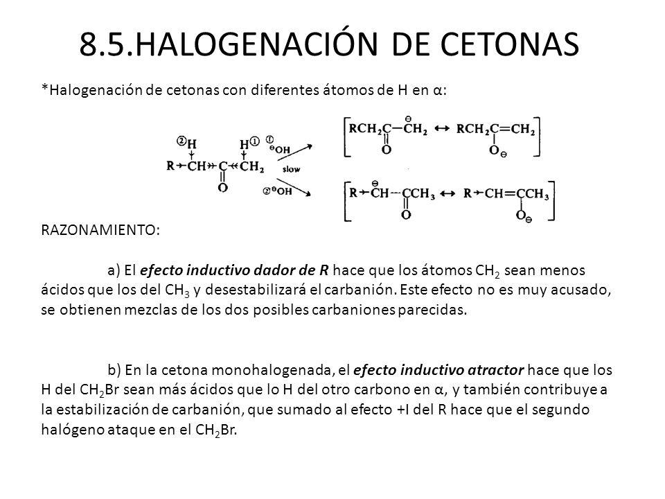 8.5.HALOGENACIÓN DE CETONAS *Halogenación de cetonas con diferentes átomos de H en α: RAZONAMIENTO: a) El efecto inductivo dador de R hace que los áto