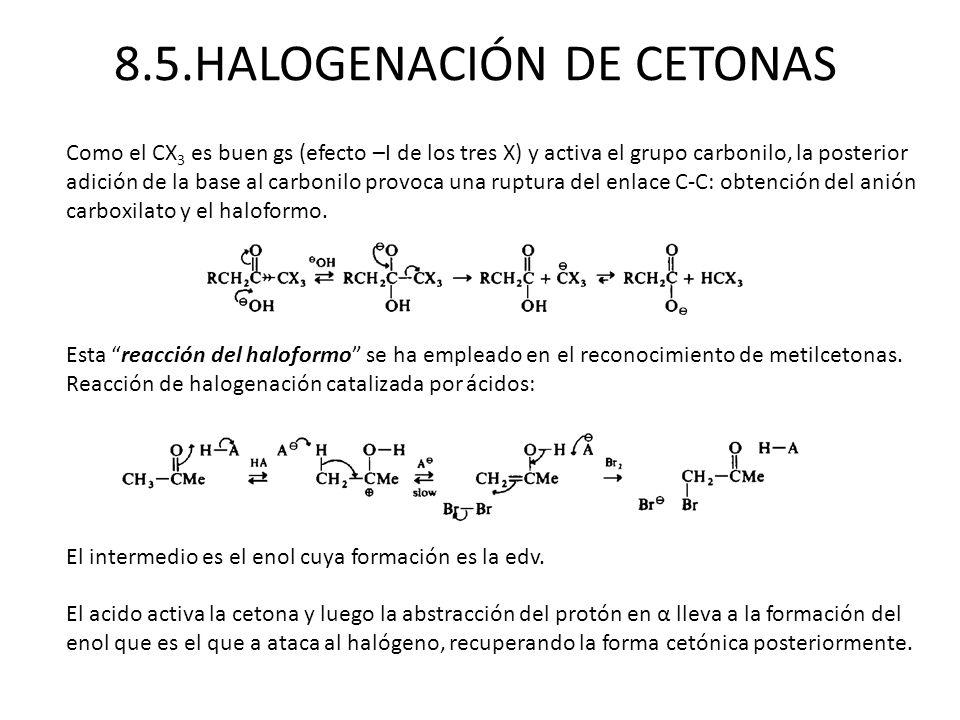 Como el CX 3 es buen gs (efecto –I de los tres X) y activa el grupo carbonilo, la posterior adición de la base al carbonilo provoca una ruptura del en