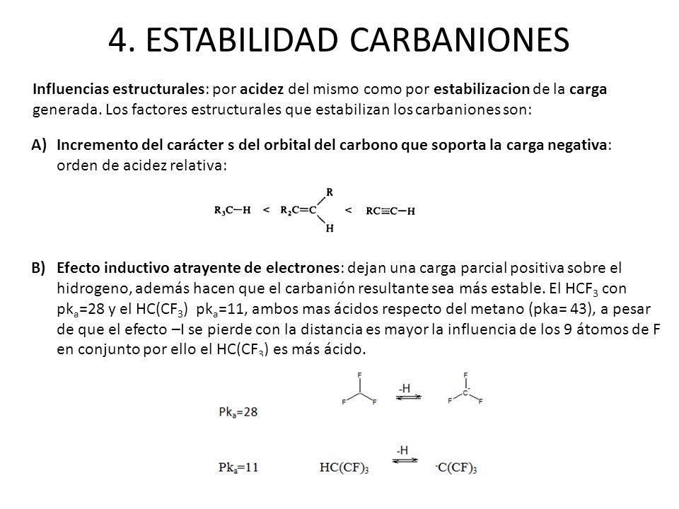 4. ESTABILIDAD CARBANIONES A)Incremento del carácter s del orbital del carbono que soporta la carga negativa: orden de acidez relativa: Influencias es
