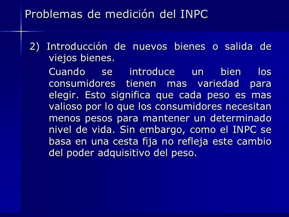Problemas de medición del INPC 2) Introducción de nuevos bienes o salida de viejos bienes. Cuando se introduce un bien los consumidores tienen mas var