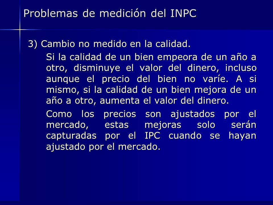 Problemas de medición del INPC 3) Cambio no medido en la calidad. Si la calidad de un bien empeora de un año a otro, disminuye el valor del dinero, in