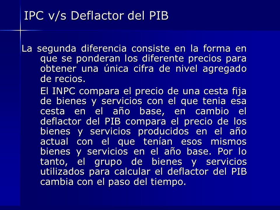 IPC v/s Deflactor del PIB La segunda diferencia consiste en la forma en que se ponderan los diferente precios para obtener una única cifra de nivel ag