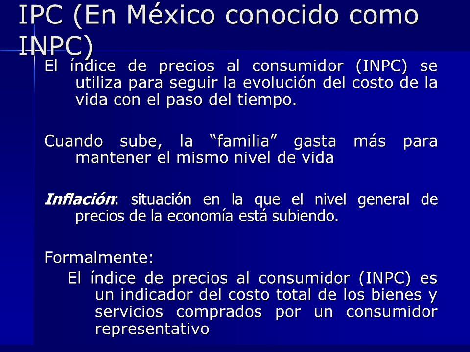 IPC (En México conocido como INPC) El índice de precios al consumidor (INPC) se utiliza para seguir la evolución del costo de la vida con el paso del