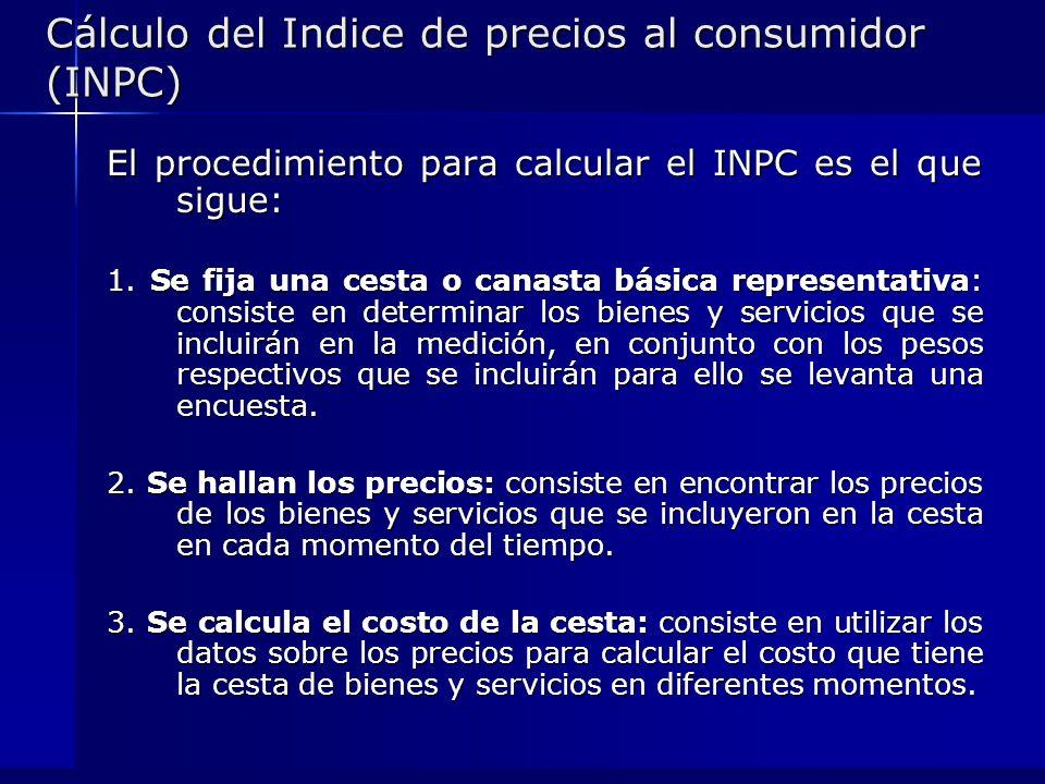 Cálculo del Indice de precios al consumidor (INPC) El procedimiento para calcular el INPC es el que sigue: 1. Se fija una cesta o canasta básica repre