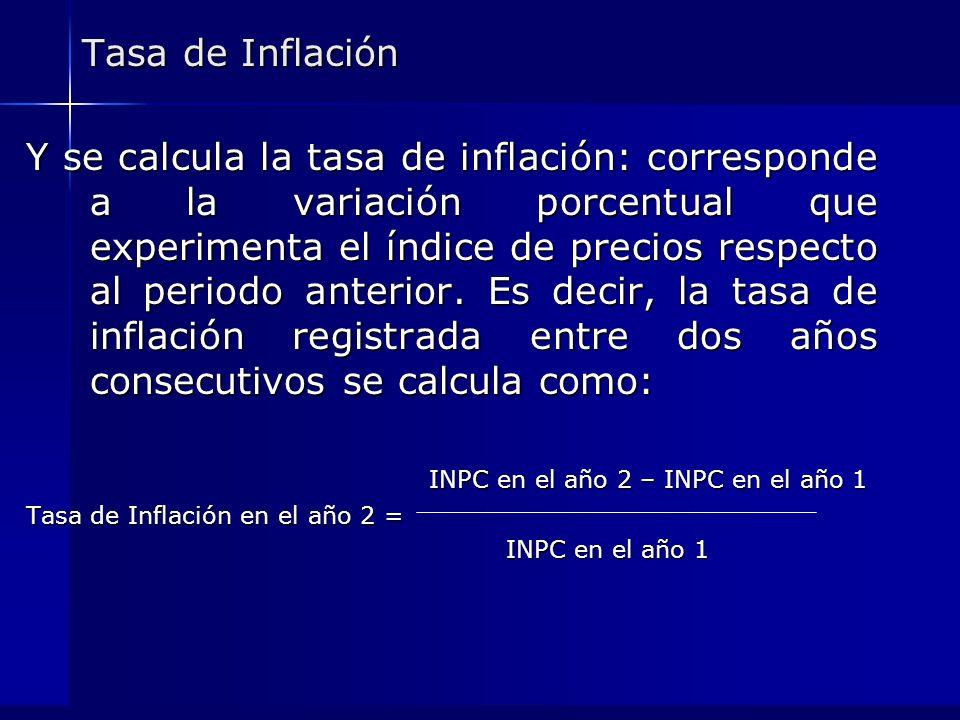 Tasa de Inflación Y se calcula la tasa de inflación: corresponde a la variación porcentual que experimenta el índice de precios respecto al periodo an