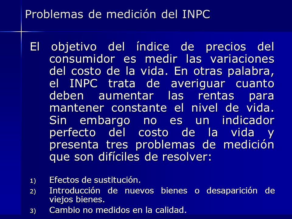 Problemas de medición del INPC El objetivo del índice de precios del consumidor es medir las variaciones del costo de la vida. En otras palabra, el IN