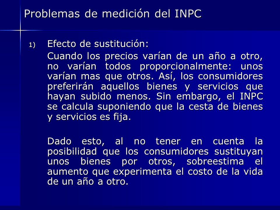 Problemas de medición del INPC 1) Efecto de sustitución: Cuando los precios varían de un año a otro, no varían todos proporcionalmente: unos varían ma