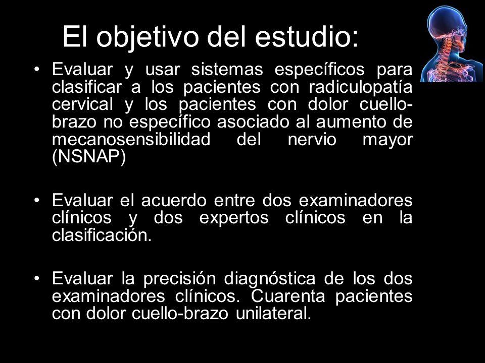 El objetivo del estudio: Evaluar y usar sistemas específicos para clasificar a los pacientes con radiculopatía cervical y los pacientes con dolor cuel