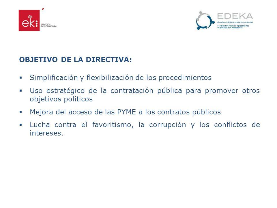 OBJETIVO DE LA DIRECTIVA: Simplificación y flexibilización de los procedimientos Uso estratégico de la contratación pública para promover otros objeti