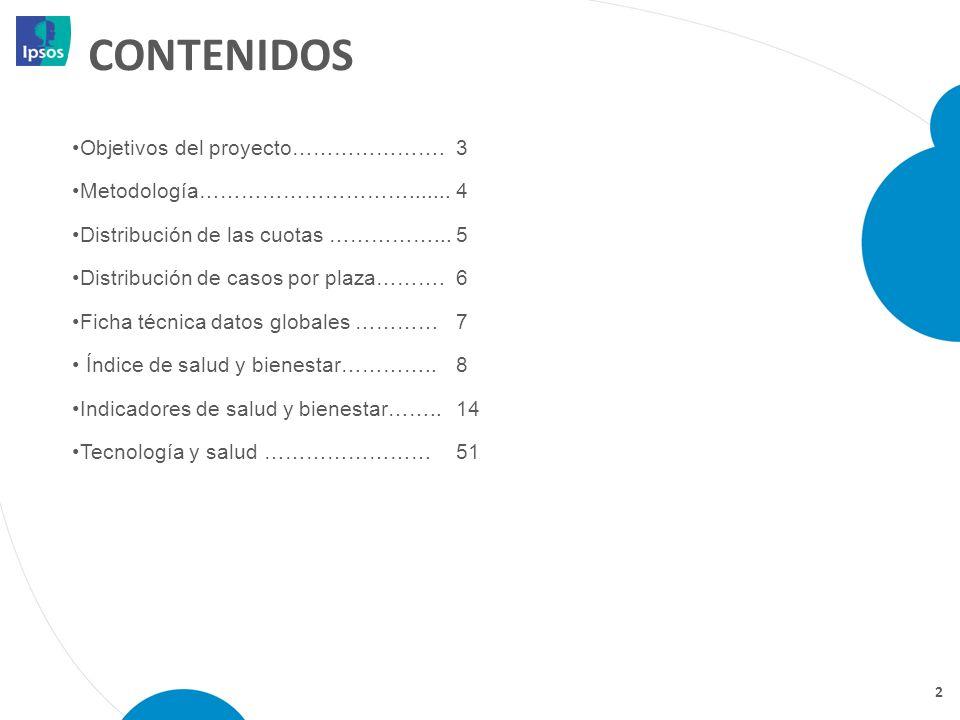 CONTENIDOS Objetivos del proyecto…………………. 3 Metodología………………………….......4 Distribución de las cuotas ……………...5 Distribución de casos por plaza………. 6 F