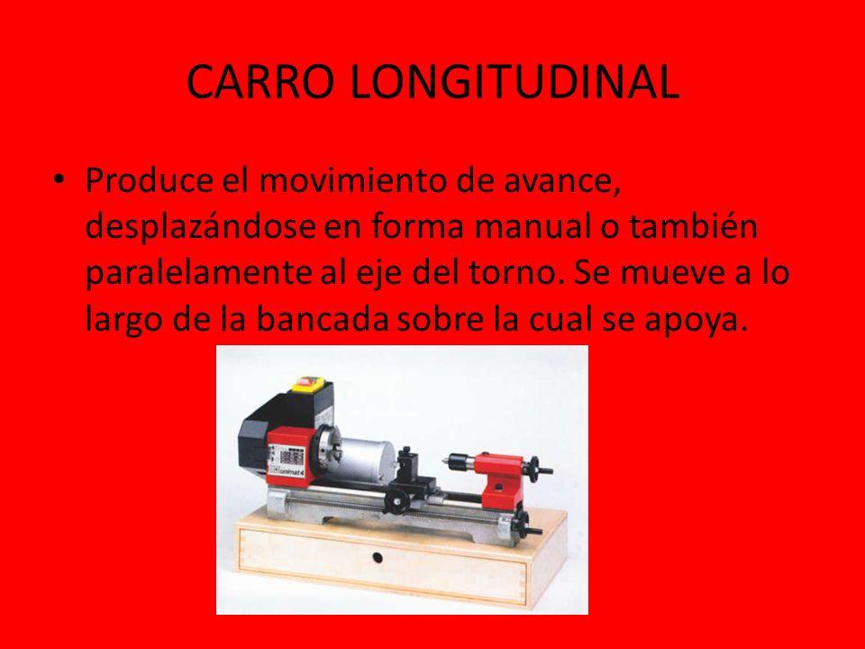 CARRO LONGITUDINAL Produce el movimiento de avance, desplazándose en forma manual o también paralelamente al eje del torno. Se mueve a lo largo de la