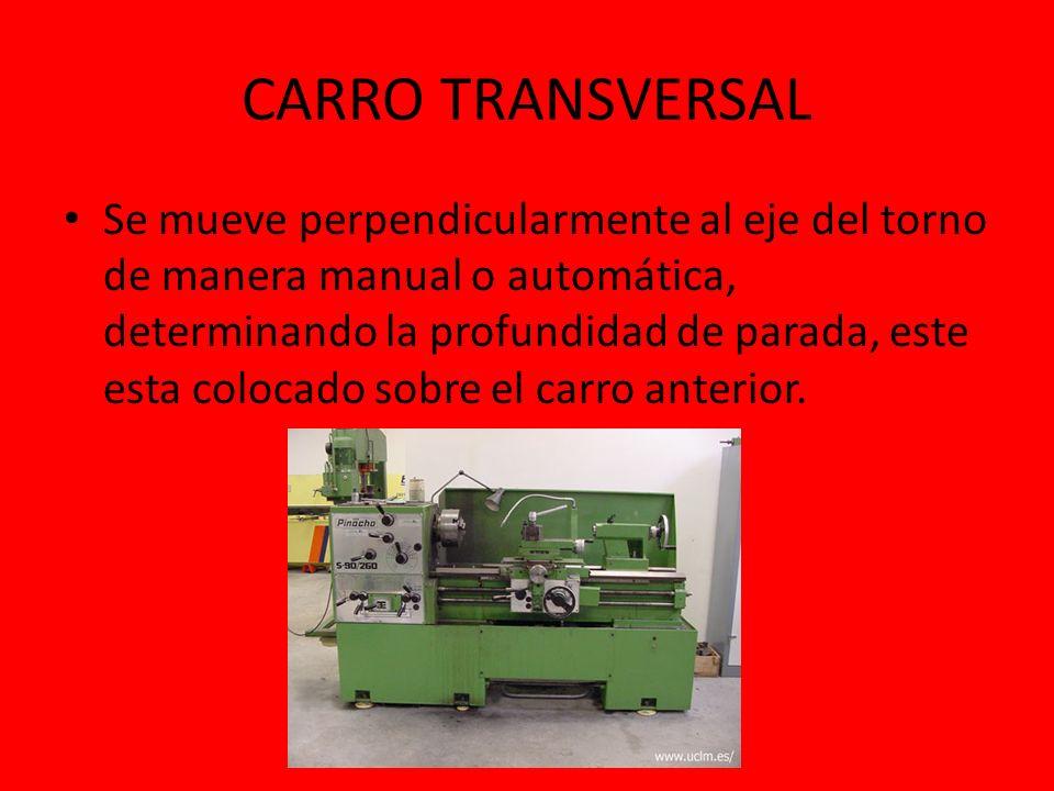 CARRO TRANSVERSAL Se mueve perpendicularmente al eje del torno de manera manual o automática, determinando la profundidad de parada, este esta colocad
