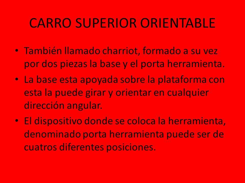 CARRO SUPERIOR ORIENTABLE También llamado charriot, formado a su vez por dos piezas la base y el porta herramienta. La base esta apoyada sobre la plat