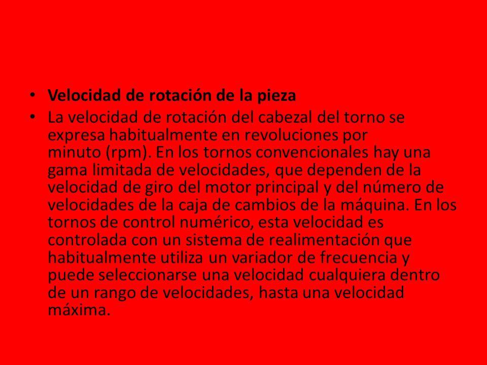 Velocidad de rotación de la pieza La velocidad de rotación del cabezal del torno se expresa habitualmente en revoluciones por minuto (rpm). En los tor
