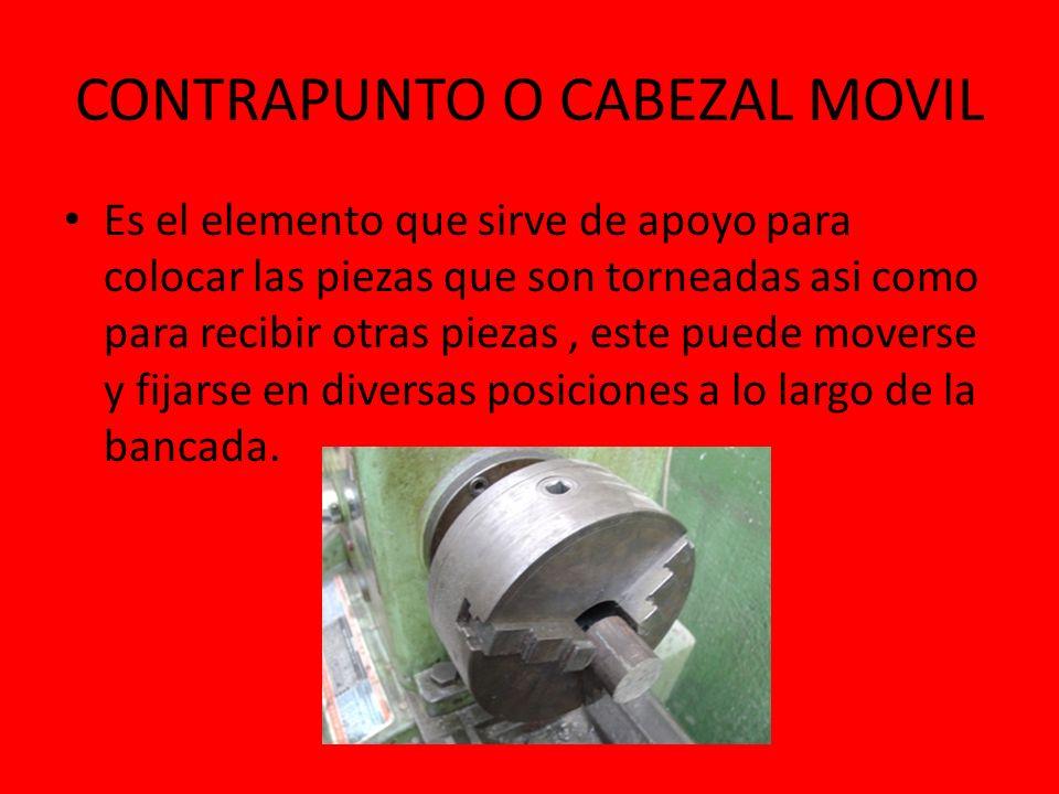 CONTRAPUNTO O CABEZAL MOVIL Es el elemento que sirve de apoyo para colocar las piezas que son torneadas asi como para recibir otras piezas, este puede