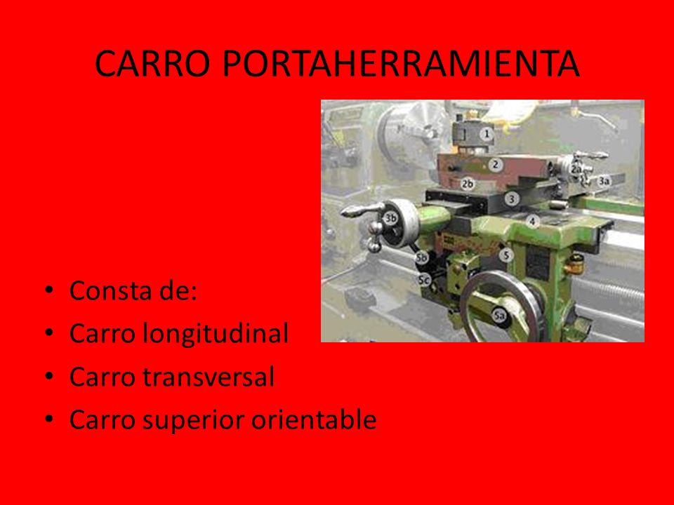 CARRO LONGITUDINAL Produce el movimiento de avance, desplazándose en forma manual o también paralelamente al eje del torno.
