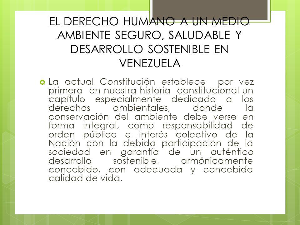 EL DERECHO HUMANO A UN MEDIO AMBIENTE SEGURO, SALUDABLE Y DESARROLLO SOSTENIBLE EN VENEZUELA La actual Constitución establece por vez primera en nuest