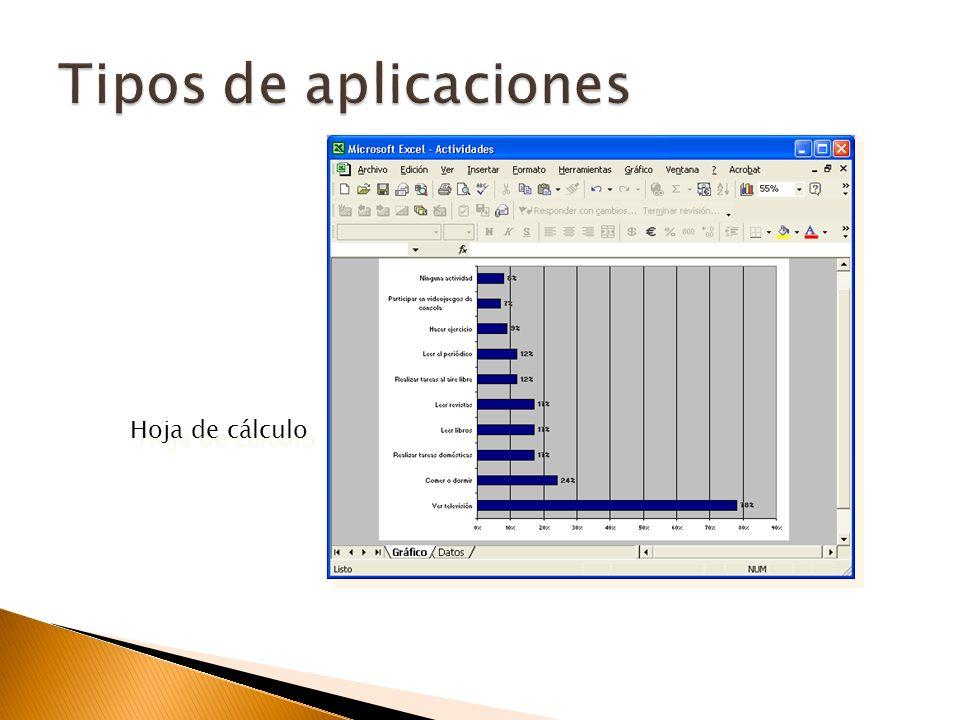 Formato de tablas (celdas, filas y columnas). Creación de gráficos. Autofiltro. Permite seleccionar algunos registros de la tabla de datos que se dese