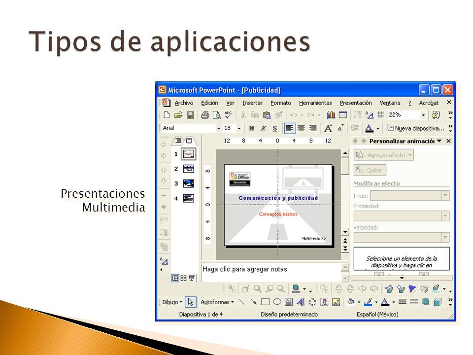 Diseño de diapositivas Efectos y transiciones Formato de texto Inserción de imágenes, gráficas, diagramas Inserción de audio Inserción de video