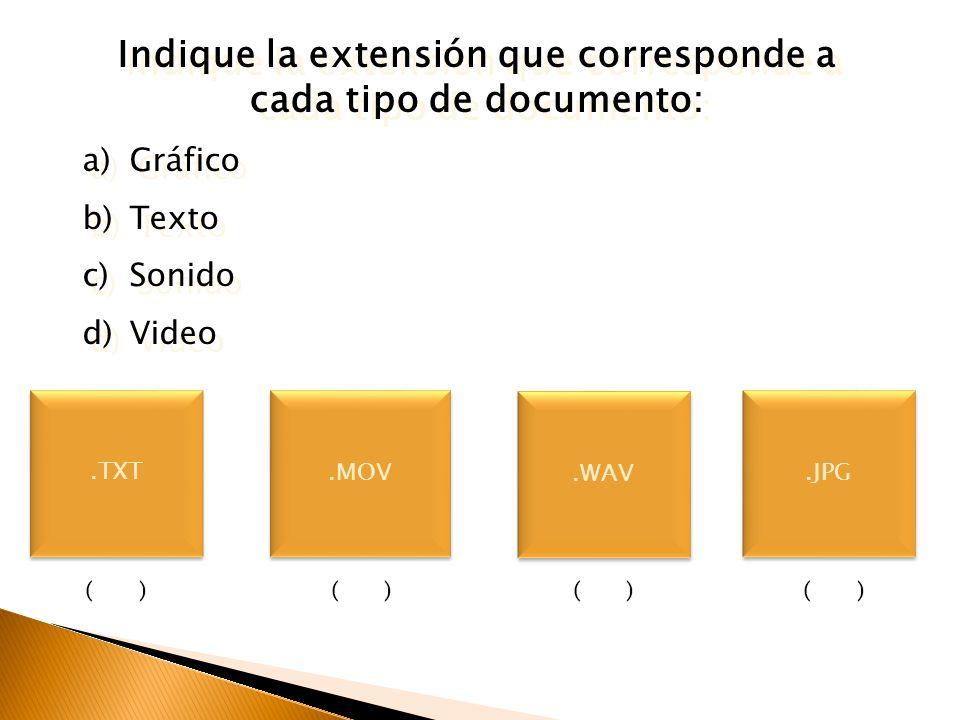 Indique la aplicación que corresponda al tipo de documento: a)Sistema Operativo b)Aplicación Indique la aplicación que corresponda al tipo de document