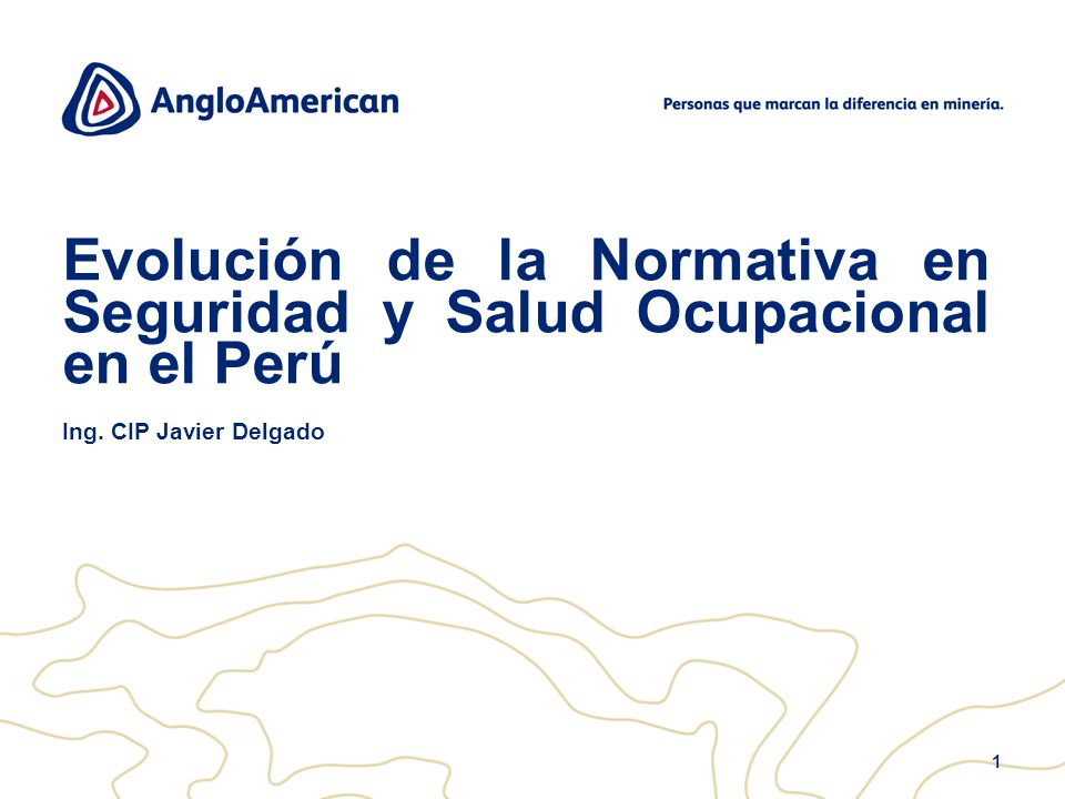 1 Evolución de la Normativa en Seguridad y Salud Ocupacional en el Perú Ing. CIP Javier Delgado