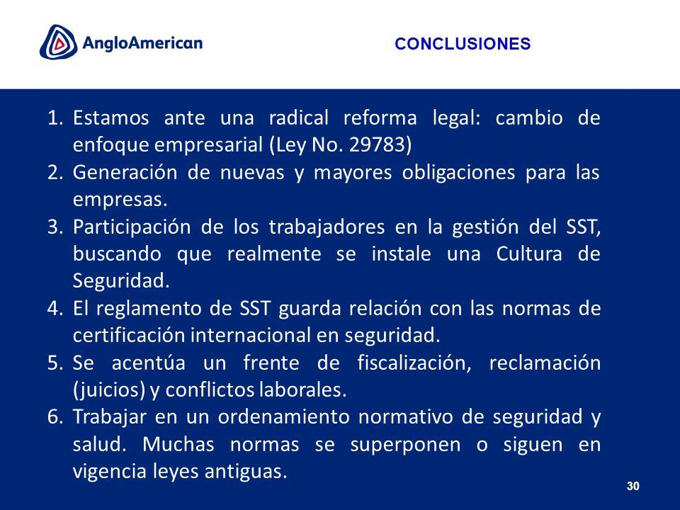 30 1.Estamos ante una radical reforma legal: cambio de enfoque empresarial (Ley No. 29783) 2.Generación de nuevas y mayores obligaciones para las empr