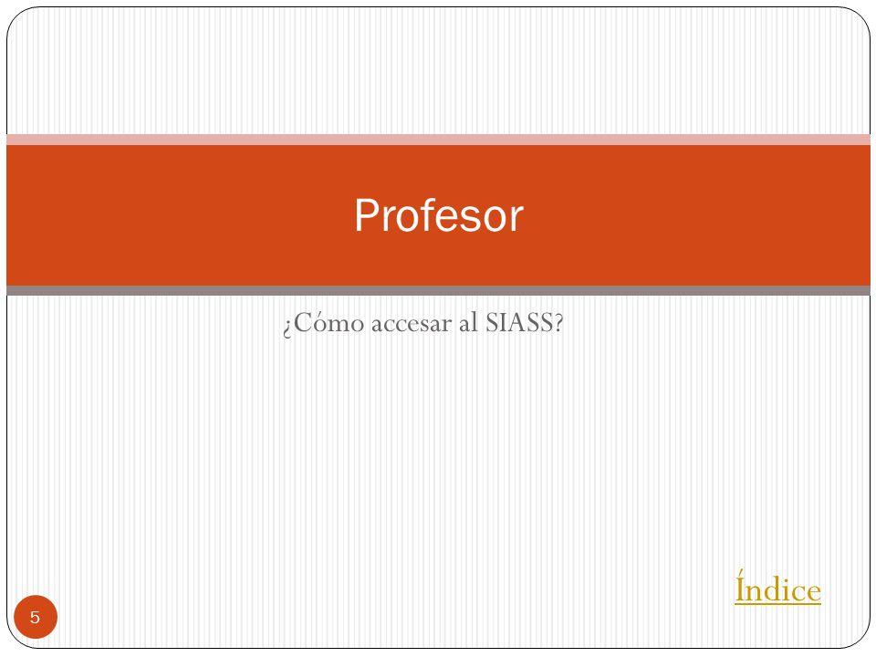 ¿Cómo accesar al SIASS? 5 Profesor Índice