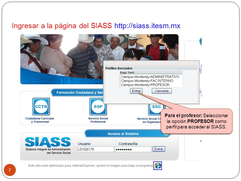 Seleccionar esta opción para registrar, consultar proyectos en las que SI se acreditan horas de SSC.