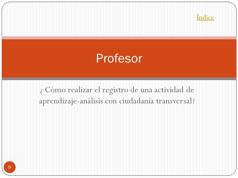 ¿ Cómo realizar el registro de una actividad de aprendizaje-análisis con ciudadanía transversal ? 9 Profesor Índice