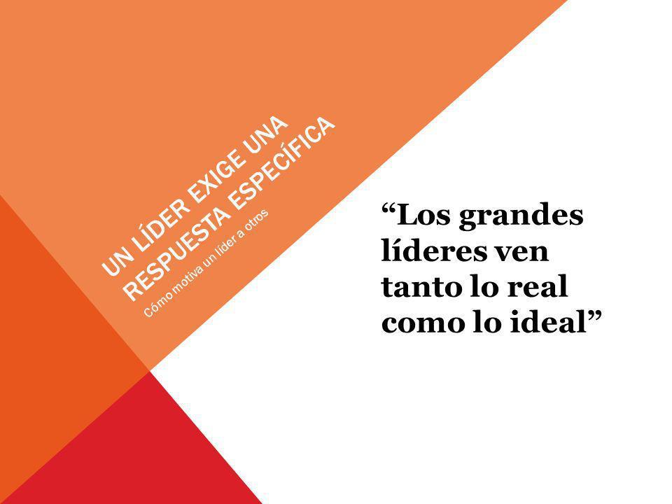 UN LÍDER EXIGE UNA RESPUESTA ESPECÍFICA Los grandes líderes ven tanto lo real como lo ideal Cómo motiva un líder a otros