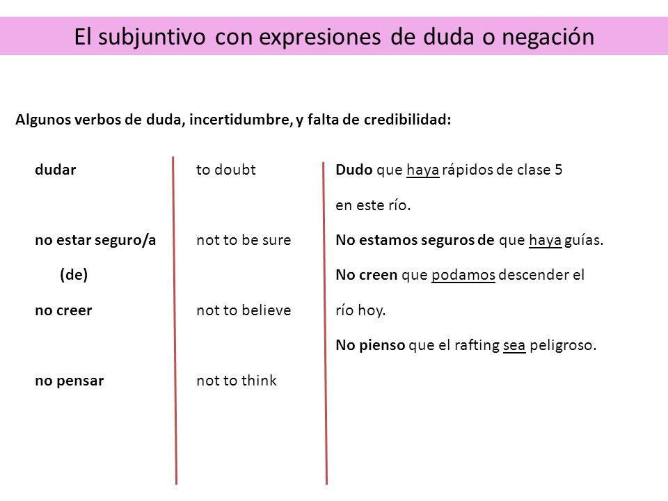 El subjuntivo con expresiones de duda o negación When creer and estar seguro/a express certainty, they are followed by the indicative.