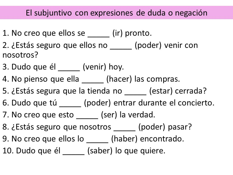 El presente perfecto del subjuntivo The present perfect subjunctive is used to express reactions to events that have occurred in the past but are closely tied to the present.