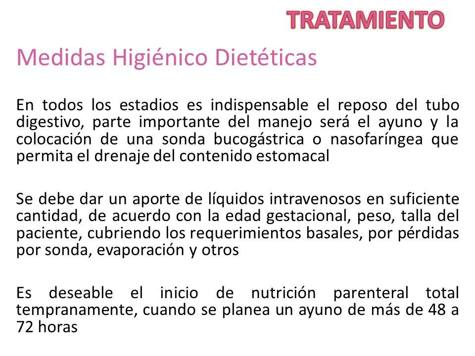 Medidas Higiénico Dietéticas En todos los estadios es indispensable el reposo del tubo digestivo, parte importante del manejo será el ayuno y la coloc