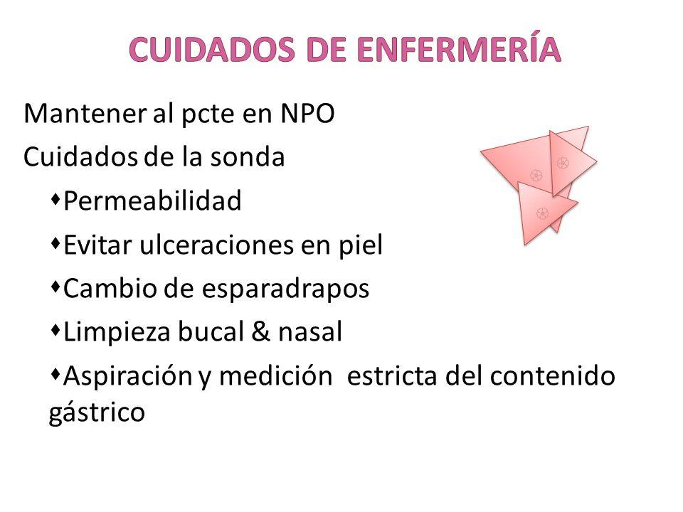 Mantener al pcte en NPO Cuidados de la sonda Permeabilidad Evitar ulceraciones en piel Cambio de esparadrapos Limpieza bucal & nasal Aspiración y medi