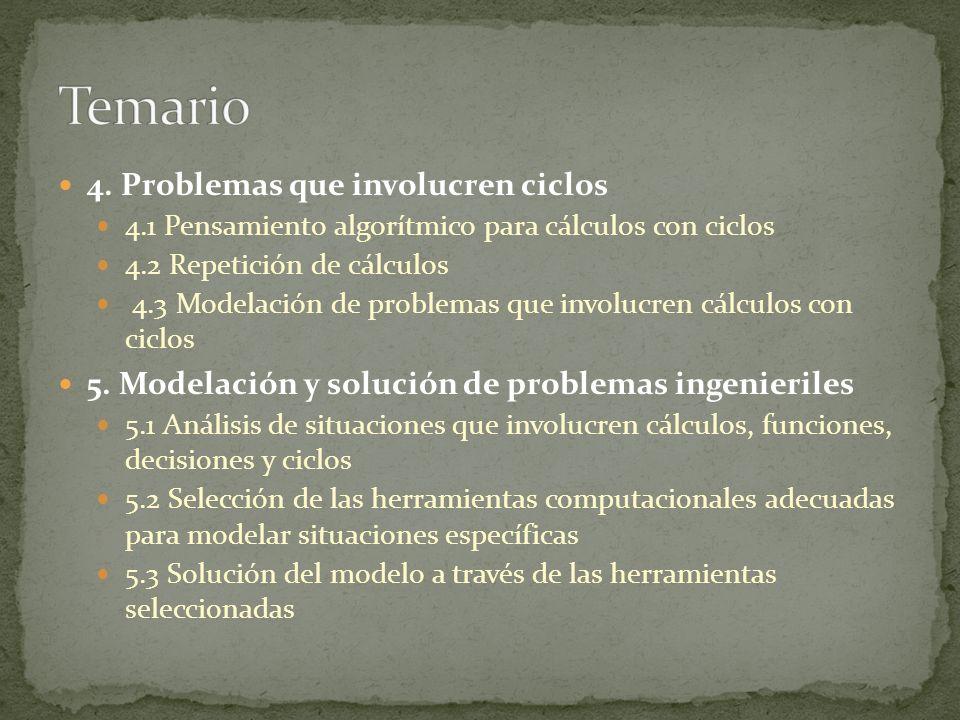 4. Problemas que involucren ciclos 4.1 Pensamiento algorítmico para cálculos con ciclos 4.2 Repetición de cálculos 4.3 Modelación de problemas que inv
