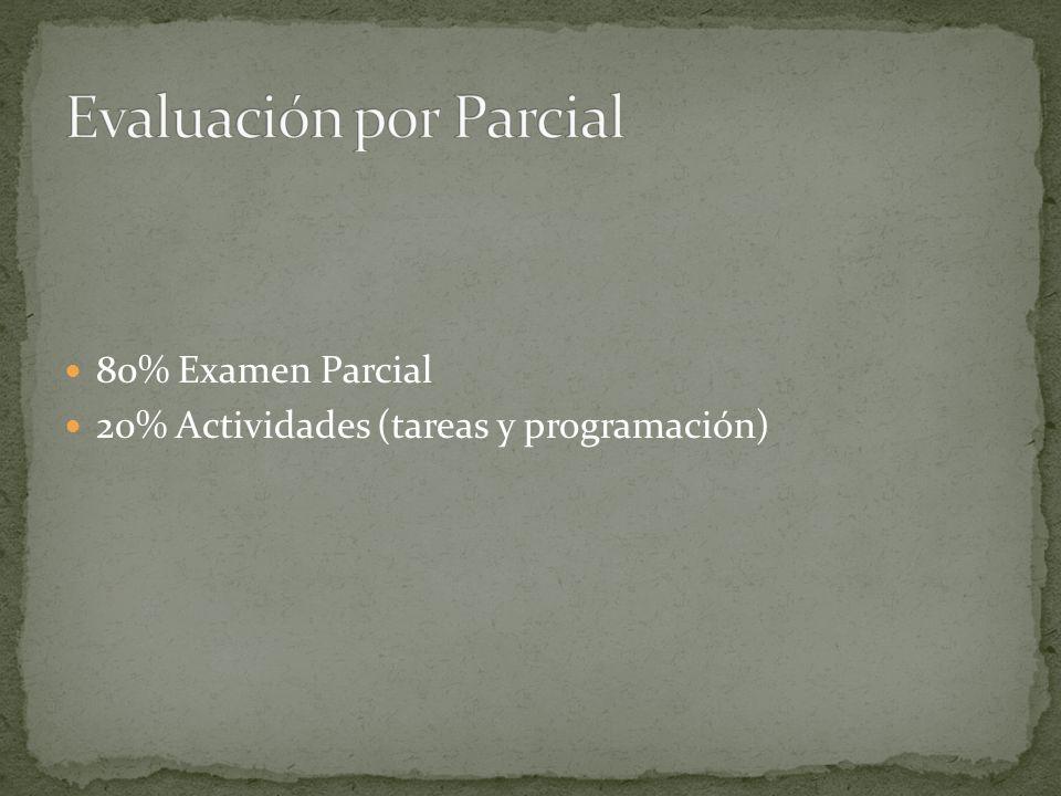 80% Examen Parcial 20% Actividades (tareas y programación)