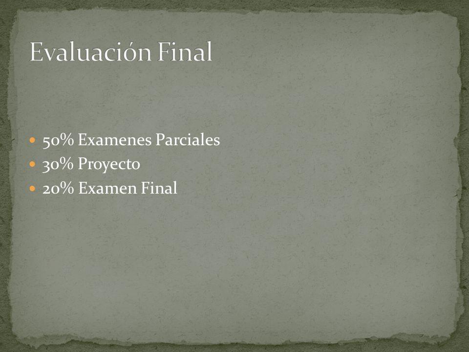 50% Examenes Parciales 30% Proyecto 20% Examen Final