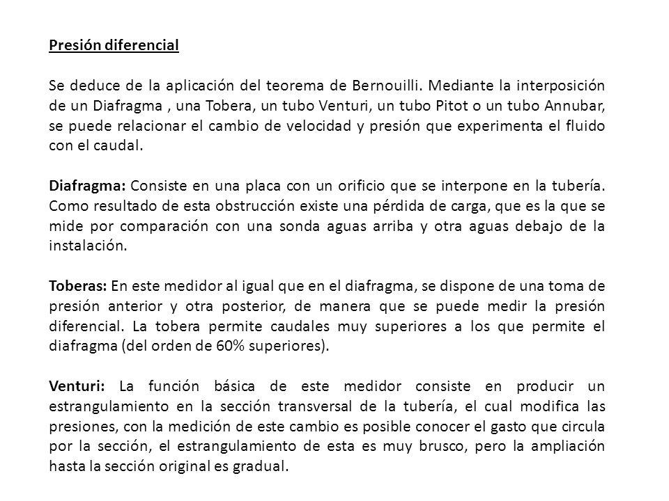Presión diferencial Se deduce de la aplicación del teorema de Bernouilli. Mediante la interposición de un Diafragma, una Tobera, un tubo Venturi, un t